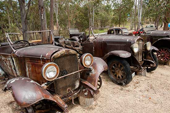 Lines of old cars