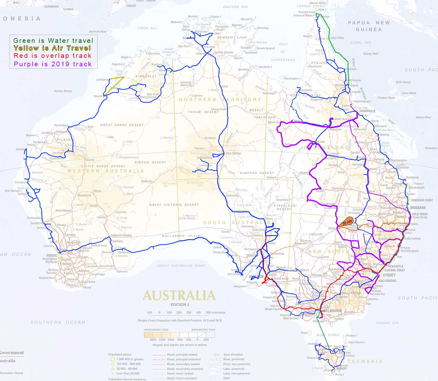 Map of Australia Travels